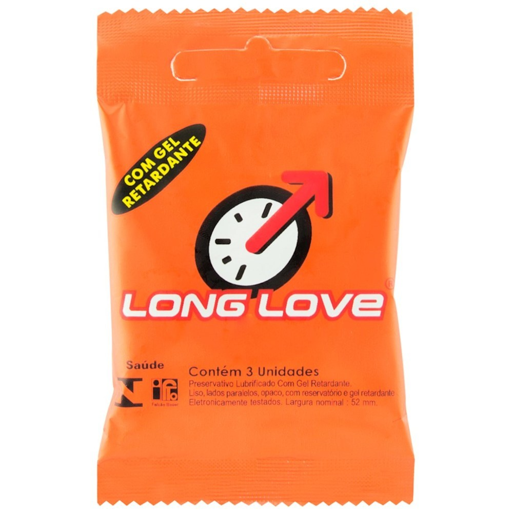 Preservativo Long Love Retardante Com 3 Unidades Studex